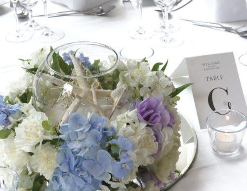アジサイを使ったテーブル装花