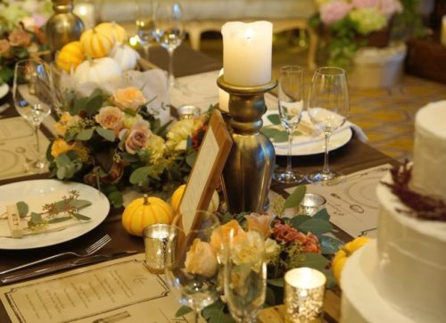 実物を使ったテーブル装花