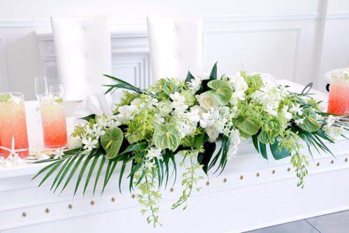 アンスリウムを使ったメインテーブル装花
