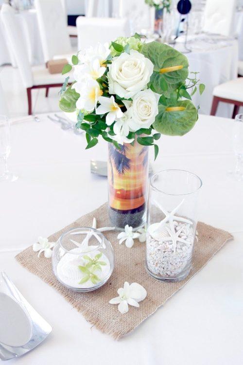 アンスリウムを使ったテーブル装花