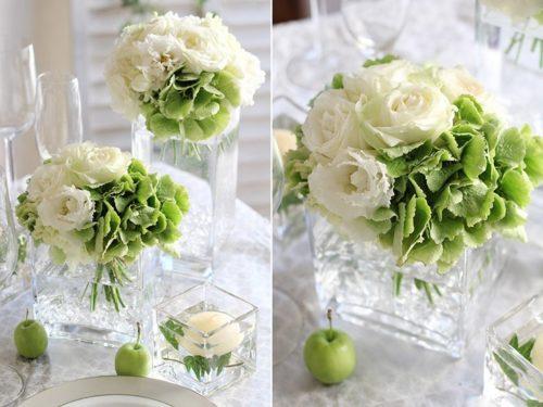 トルコキキョウを使ったテーブル装花