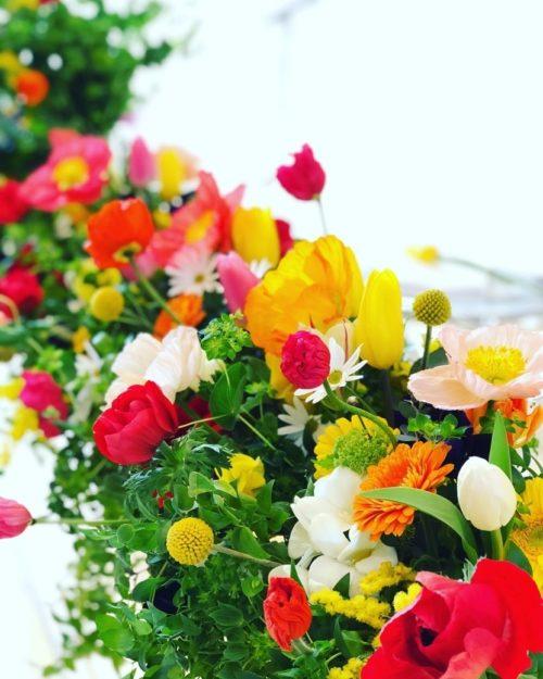 チューリップを使ったメインテーブル装花