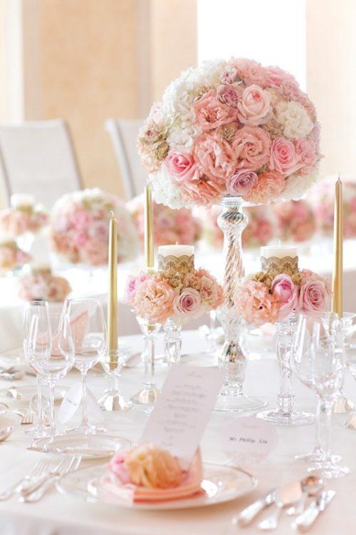 バラを使ったテーブル装花