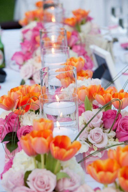 チューリップを使ったテーブル装花