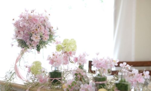 桜を使ったメインテーブル