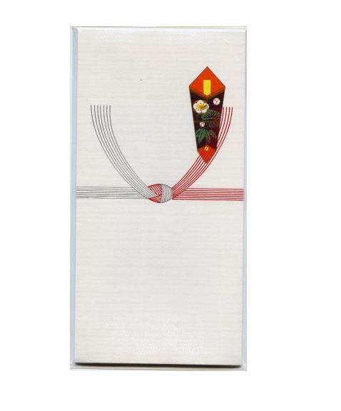 略式ののし袋:のしや水引が印刷され、お札は折らずに入れる