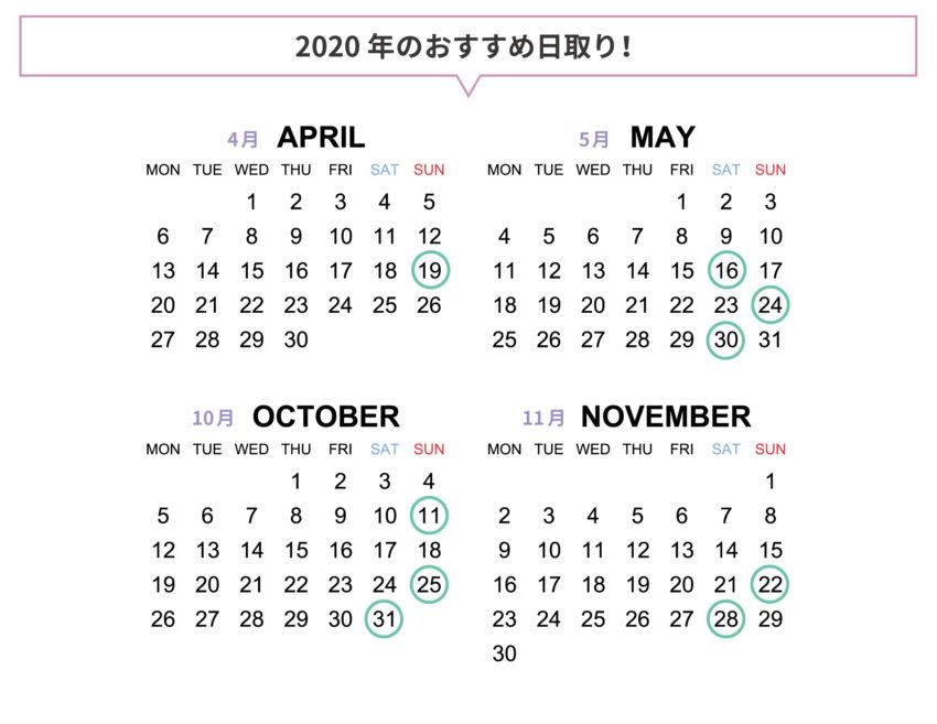 2020年のおすすめ日取り