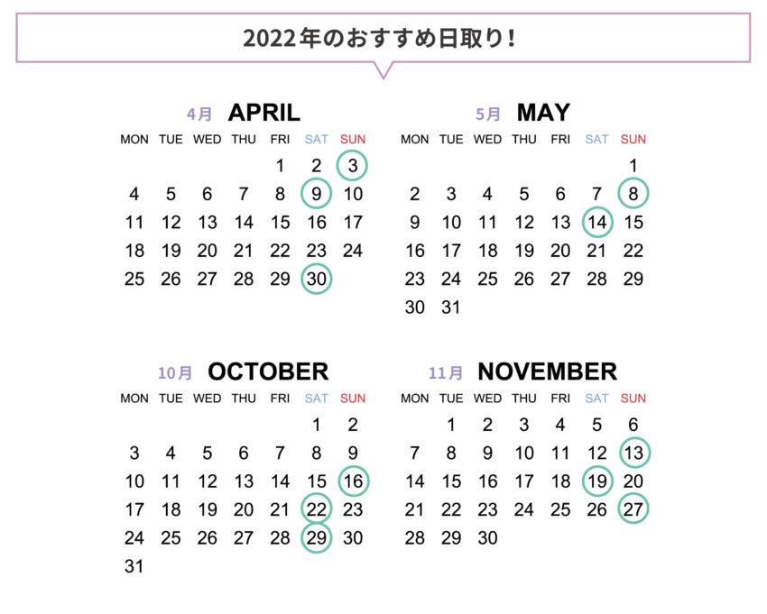 2022年のおすすめ日取り